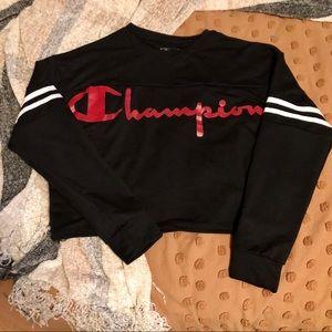 Champion Black Cropped Crewneck w/ Full Logo